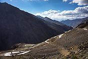 Motorcyclists ride down the curvy roads along the Leh Manali highway in Ladakh region.