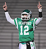 Andrew Cain #12, Seaford quarterback, reacts after his team scored a touchdown in the Nassau County varsity football Conference IV semifinals against Locust Valley at Hofstra University on Saturday, Nov. 12, 2016. Seaford won by a score of 28-14.