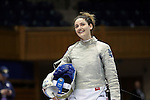 DURHAM, NC - FEBRUARY 25: Notre Dame's Francesca Russo during the Women's Saber championship match. The Atlantic Coast Conference Fencing Championships were held on February, 25, 2017, at Cameron Indoor Stadium in Durham, NC.