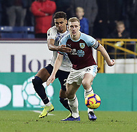 Burnley's Ben Mee shields the ball from Everton's Dominic Calvert-Lewin<br /> <br /> Photographer Rich Linley/CameraSport<br /> <br /> The Premier League - Burnley v Everton - Wednesday 26th December 2018 - Turf Moor - Burnley<br /> <br /> World Copyright &copy; 2018 CameraSport. All rights reserved. 43 Linden Ave. Countesthorpe. Leicester. England. LE8 5PG - Tel: +44 (0) 116 277 4147 - admin@camerasport.com - www.camerasport.com