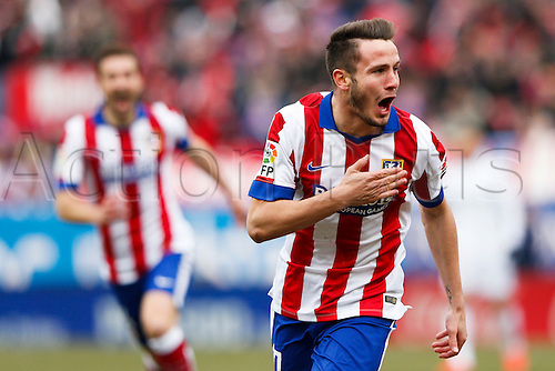 07.02.2015. Madrid, Spain. La Liga football, Atletico Madrid versus Real Madrid.  17 Saul Níguez Esclapez Midfielder of Atletico de Madrid celebrates the  after scoring his team´s 2nd goal.