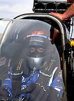 Mar 29, 2014; Las Vegas, NV, USA; NHRA top fuel driver J.R. Todd during qualifying for the Summitracing.com Nationals at The Strip at Las Vegas Motor Speedway. Mandatory Credit: Mark J. Rebilas-