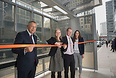 Sir George Iacobescu, Sian Berry, Green candidate for Mayor of London, Hamish Watson, Joanna Slota-Newson.  Launch of Polysolar photovoltaic bus shelter, Canary Wharf, London.Launch of Polysolar photovoltaic bus shelter, Canary Wharf, London.