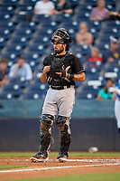 Jupiter Hammerheads catcher Adrian Nieto during a Florida State League game against the Tampa Tarpons on July 26, 2019 at George M. Steinbrenner Field in Tampa, Florida.  Tampa defeated Jupiter 4-3 in the second game of a doubleheader.  (Mike Janes/Four Seam Images)