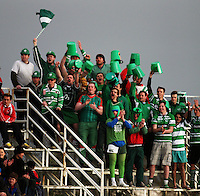 The Bucketheads celebrate during the Air NZ Cup rugby match between Manawatu Turbos and Counties-Manukau Steelers at FMG Stadium, Palmerston North, New Zealand on Sunday, 2 August 2009. Photo: Dave Lintott / lintottphoto.co.nz