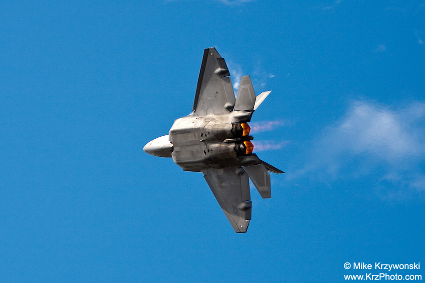 Raptor fighter jet performing aerobatics at the air show at the Kaneohe Marine Base, Oahu, Hawaii
