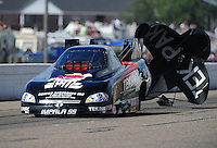 Aug. 20, 2011; Brainerd, MN, USA: NHRA funny car driver Dale Creasy Jr during qualifying for the Lucas Oil Nationals at Brainerd International Raceway. Mandatory Credit: Mark J. Rebilas-