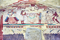"""Underground Etruscan tomb Known as """"Tomba delle Leonesse"""". A single chamber with double sloping ceiling decorated with a painted chequered design. Six painted columns divide the walls to give the tomb the appearance of a pavillion. In the typanium of the back wall are two lionesses below which is a large Krater used to mix water and wine, flanked by two musicians and a female dancer.  Circa 520 BC. Excavated 1874, Etruscan Necropolis of Monterozzi, Monte del Calvario, Tarquinia, Italy. A UNESCO World Heritage Site."""