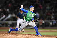 Pitcher Geoffrey Bramblett (11) of the Lexington Legends works in relief in a game against the Columbia Fireflies on Thursday, June 8, 2017, at Spirit Communications Park in Columbia, South Carolina. Columbia won, 8-0. (Tom Priddy/Four Seam Images)