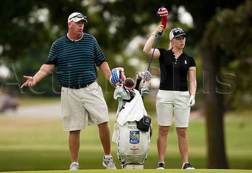 7 September 2010: Morgan Pressel pulls a club from her bag during a practice round of the P&G NW Arkansas Championship presented by Walmart at Pinnacle Country Club in Rogers, Arkansas on September 7, 2010.