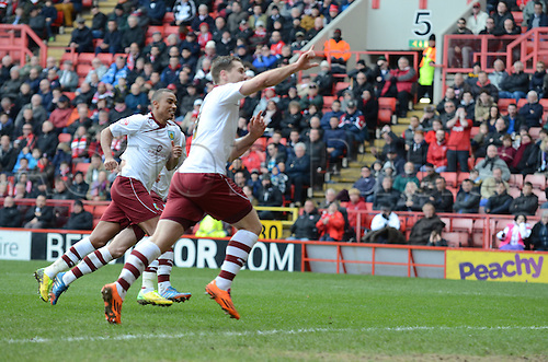 22.03.2014 London, England. Bunrley's Sam Vokes scoring his penalty during the Championship game between Charlton Athletic and Burnley from The Valley.