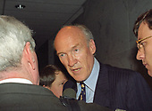 United States Senator Alan Simpson (Republican of Wyoming) is interviewed in a Capitol Hill hallway in Washington, DC on Wednesday, May 15, 1996. <br /> Credit: Arnie Sachs / CNP