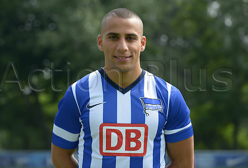 28.06.2013. Berlin, Germany.  Änis Ben-Hatira of German Bundesliga club Hertha BSC during the official photocall of season 2013-14  in 2013 in Berlin on the training ground in the Olympic Stadium.