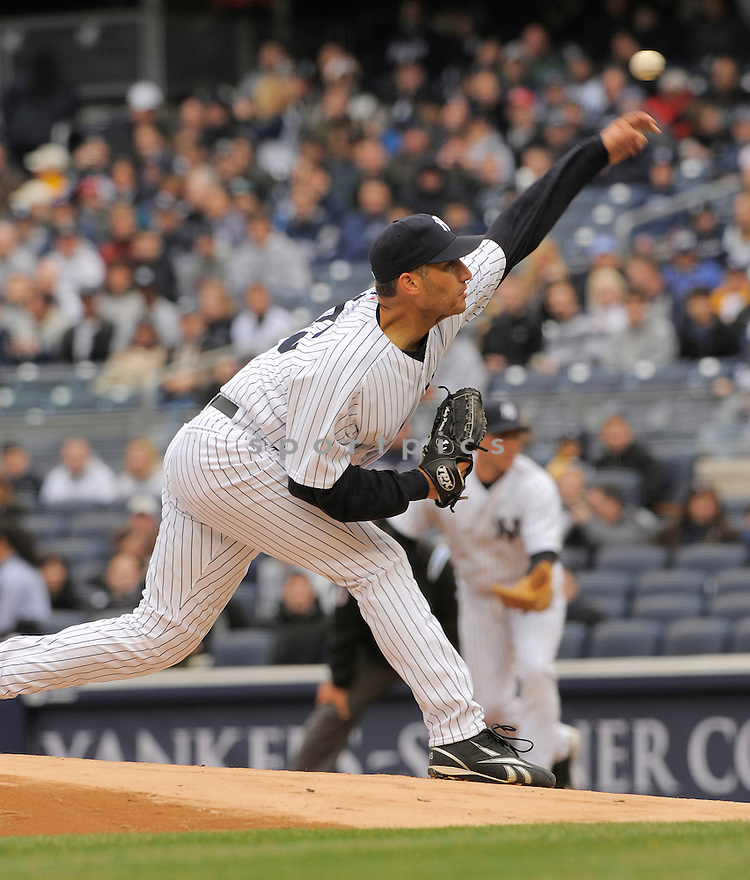 ANDY PETTITTE, of the New York Yankees , in action  during the Yankees  game against the Chicago Cubs on April 4, 2009 in New York.  The Yankees beat  the Cubs  10-1  in the Bronx, New York.