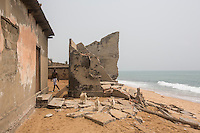 Togo - Abgavi - The house of a young couple recently destroyed by the rising sea level. The village of Agbavi is one of the coastal erosion hotspots in Togo. Dozens of houses have already been lost, forcing the local population to relocate several times. Although coastal erosion has affected this coastline since the 60s, the phenomenon has increased massively after 2012 due to climate change and the enlargement of a nearby deep-sea port.