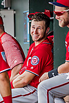 24 February 2019: Washington Nationals top prospect infielder Carter Kieboom smiles in the dugout during a Spring Training game against the St. Louis Cardinals at Roger Dean Stadium in Jupiter, Florida. The Nationals defeated the Cardinals 12-2 in Grapefruit League play. Mandatory Credit: Ed Wolfstein Photo *** RAW (NEF) Image File Available ***