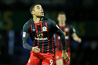 Blackburn Rovers' Dominic Samuel tracks a ball in the air<br /> <br /> Photographer Andrew Kearns/CameraSport<br /> <br /> The EFL Sky Bet League One - Portsmouth v Blackburn Rovers - Tuesday 13th February 2018 - Fratton Park - Portsmouth<br /> <br /> World Copyright &copy; 2018 CameraSport. All rights reserved. 43 Linden Ave. Countesthorpe. Leicester. England. LE8 5PG - Tel: +44 (0) 116 277 4147 - admin@camerasport.com - www.camerasport.com