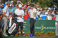 Justin Thomas (USA) chats with Rory McIlroy (NIR) on the 10th tee during round 1 of The Players Championship, TPC Sawgrass, at Ponte Vedra, Florida, USA. 5/10/2018.<br /> Picture: Golffile | Ken Murray<br /> <br /> <br /> All photo usage must carry mandatory copyright credit (&copy; Golffile | Ken Murray)