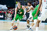 Real Madrid Sergio Llull and Kirolbet Baskonia Matt Janning during Turkish Airlines Euroleague match between Real Madrid and Kirolbet Baskonia at Wizink Center in Madrid, Spain. October 19, 2018. (ALTERPHOTOS/Borja B.Hojas)