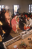 Giving gifts to the bride and groom at a Sikh wedding ceremony in Patiala; Punjab; India,
