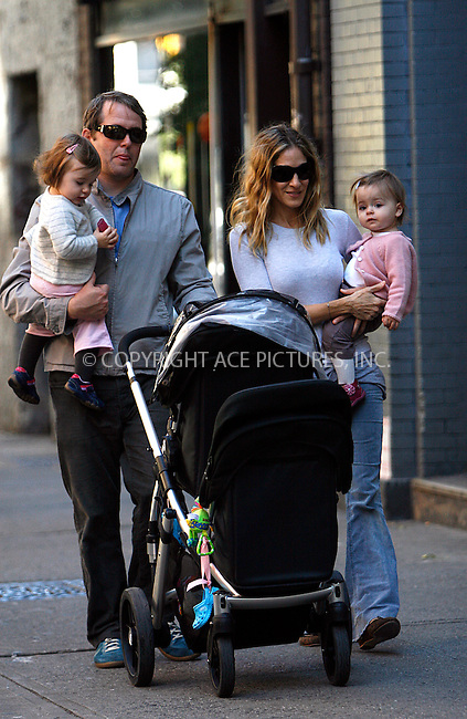 WWW.ACEPIXS.COM . . . . .  ....October 10 2010, New York City....Actress Sarah Jessica Parker and her husband Matthew Broderick take their twin daughters Loretta Elwell Broderick and Tabitha Hodge Broderick out to the park in their West Village neighborhood on October 10 2010 in New York City.. ..Please byline: NANCY RIVERA- ACEPIXS.COM.... *** ***..Ace Pictures, Inc:  ..Tel: 646 769 0430..e-mail: info@acepixs.com..web: http://www.acepixs.com