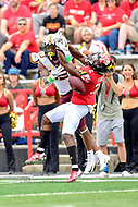 College Park, MD - SEPT 22, 2018: Maryland Terrapins defensive back RaVon Davis (2) knocks down a pass intended for Minnesota Golden Gophers wide receiver Rashod Bateman (13) during game between Maryland and Minnesota at Capital One Field at Maryland Stadium in College Park, MD. The Terrapins defeated the Golden Bears 42-13 to move to 3-1 on the season. (Photo by Phil Peters/Media Images International)