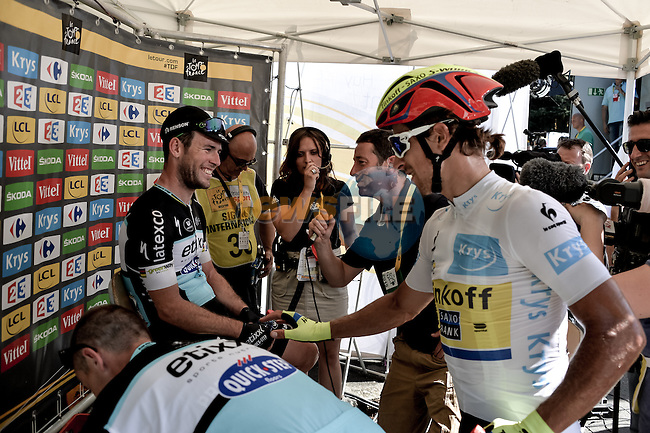 Peter Sagan (SVK) Tinkoff-Saxo congratulates stage winner Mark Cavendish (GBR) Etixx-Quick Step at the end of Stage 7 of the 2015 Tour de France running 190.5km from Livarot to Fougeres, France. 10th July 2015.<br /> Photo: ASO/P.Perreve/Newsfile