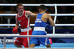 Glasgow 2014 Commonwealth Games<br /> Joseph Cordina (Wales Blue) v David Gauthier ( Canada Red).<br /> Men's light 60kg Preliminaries.<br /> SECC<br /> 27.07.14<br /> &copy;Steve Pope-SPORTINGWALES