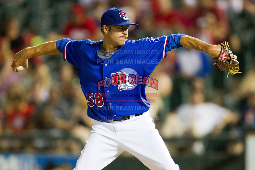 Round Rock Express pitcher Mark Hamburger #58 delivers during the Pacific Coast League baseball game against the Oklahoma City RedHawks on June 15, 2012 at the Dell Diamond in Round Rock, Texas. The Express shutout the RedHawks 2-1. (Andrew Woolley/Four Seam Images).