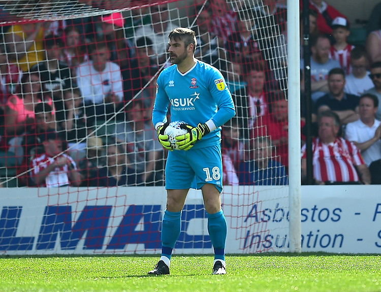 Lincoln City's Matt Gilks<br /> <br /> Photographer Andrew Vaughan/CameraSport<br /> <br /> The EFL Sky Bet League Two - Lincoln City v Tranmere Rovers - Monday 22nd April 2019 - Sincil Bank - Lincoln<br /> <br /> World Copyright © 2019 CameraSport. All rights reserved. 43 Linden Ave. Countesthorpe. Leicester. England. LE8 5PG - Tel: +44 (0) 116 277 4147 - admin@camerasport.com - www.camerasport.com