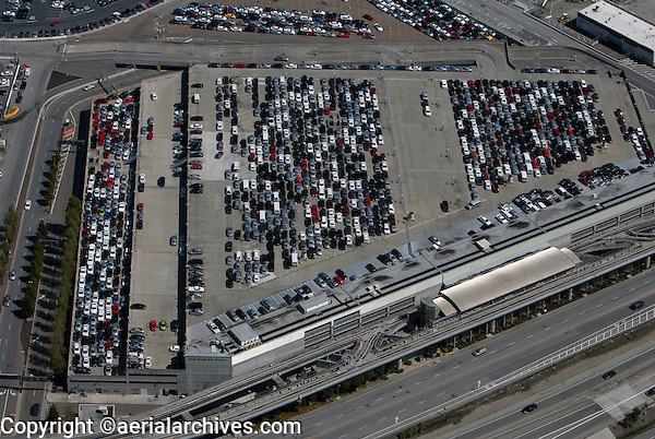 aerial photograph San Francisco International airport SFO rental car center