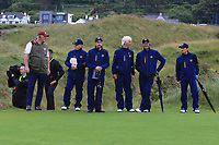 A few rules officials walking the course during the preview of the the 148th Open Championship, Portrush golf club, Portrush, Antrim, Northern Ireland. 17/07/2019.<br /> Picture Thos Caffrey / Golffile.ie<br /> <br /> All photo usage must carry mandatory copyright credit (© Golffile | Thos Caffrey)