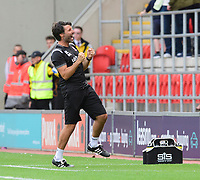 Lincoln City manager Danny Cowley celebrates after a late Rotherham United effort went wide<br /> <br /> Photographer Chris Vaughan/CameraSport<br /> <br /> The EFL Sky Bet Championship - Rotherham United v Lincoln City - Saturday 10th August 2019 - New York Stadium - Rotherham<br /> <br /> World Copyright © 2019 CameraSport. All rights reserved. 43 Linden Ave. Countesthorpe. Leicester. England. LE8 5PG - Tel: +44 (0) 116 277 4147 - admin@camerasport.com - www.camerasport.com