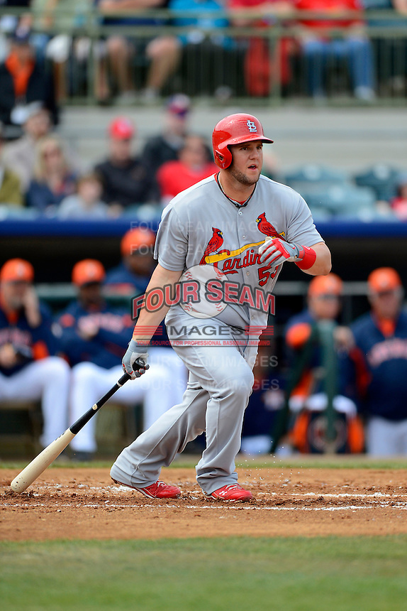 St. Louis Cardinals first baseman Matt Adams #53 during a Spring Training game against the Houston Astros at Osceola County Stadium on March 1, 2013 in Kissimmee, Florida.  The game ended in a tie at 8-8.  (Mike Janes/Four Seam Images)