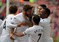 Fernando Llorente of Swansea City (C) celebrates his goal with team mates  during to the Premier League match between Sunderland and Swansea City at the Stadium of Light, Sunderland, England, UK. Saturday 13 May 2017