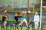 Sean O'Sullivan St Michaels Foilmore gets to the ball before Austin Stacks keeper Darragh O'Brien and punches into an empty goal during the SFC relegation playoff in Killarney on Saturday