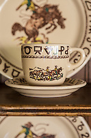 Western-patterned tableware on display in the Sycamore Room at The Alisal Guest Ranch and Resort, Solvang, California.