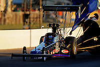 Sept. 4, 2010; Clermont, IN, USA; NHRA top fuel dragster driver Pat Dakin during qualifying for the U.S. Nationals at O'Reilly Raceway Park at Indianapolis. Mandatory Credit: Mark J. Rebilas-