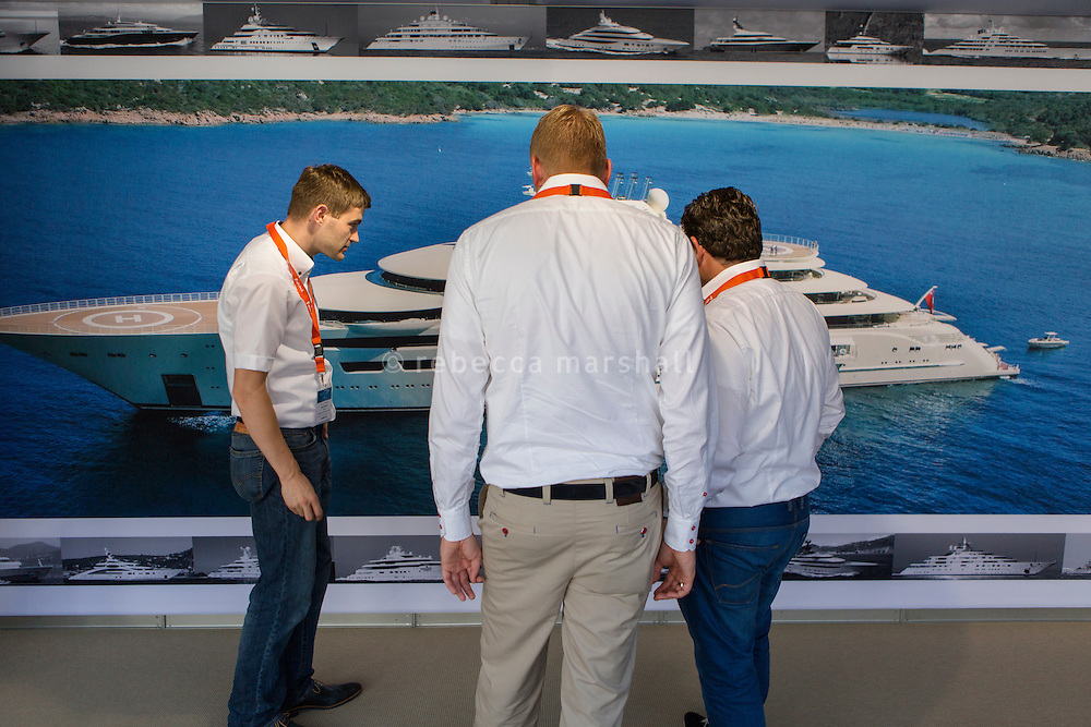 Looking at a photograph of Dilbar at Monaco Yacht Show, Monaco, 29 September 2016