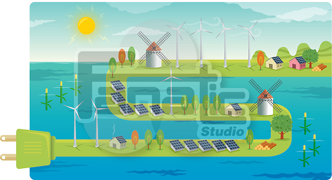 Wind farms on electrical plug depicting the concept of conversation of natural resources