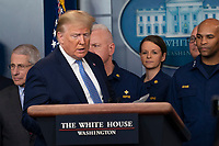 United States President Donald J. Trump arrives to make a statement on coronavirus during a news briefing at the White House in Washington, DC on Sunday, March 15, 2020.<br /> Credit: Chris Kleponis / Pool via CNP/AdMedia