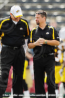September 11, 2010; Hamilton, ON, CAN; Hamilton Tiger-Cats offensive coordinator/running backs coach Mike Gibson and head coach Marcel Bellefeuille. CFL football: Montreal Alouettes vs. Hamilton Tiger-Cats at Ivor Wynne Stadium. The Alouettes defeated the Tiger-Cats 27-6. Mandatory Credit: Ron Scheffler. Copyright (c) 2010 Ron Scheffler.