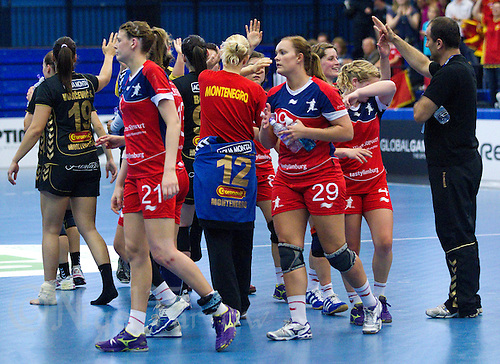 30 MAY 2012 - LONDON, GBR - Great Britain players congratulate their Montenegro opposition on their 37-22 victory at the 2012 European Handball Championship qualification match at the National Sports Centre in Crystal Palace, Great Britain .(PHOTO (C) 2012 NIGEL FARROW)