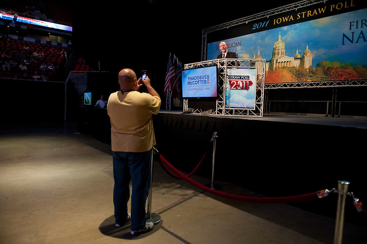 UNITED STATES - AUGUST 13:  Republican presidential candidate Thad McCotter addresses the crowd at the Ames Straw Poll at Iowa State University in Ames, Iowa.  (Photo By Tom Williams/Roll Call)