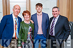 Joe Harrington, Kay O'Leary (Lyreacrompane), David Clifford and John O'Connell (Doon), pictured at the Kerry Supporters Social at Ballygarry House Hotel and Spa, Tralee, on Saturday night last.