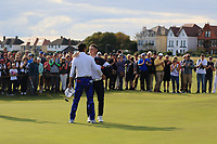 Isaiah Salinda (USA) wins his game against Alex Fitzpatrick (GB&I) during Day 2 Singles at the Walker Cup, Royal Liverpool Golf CLub, Hoylake, Cheshire, England. 08/09/2019.<br /> Picture Thos Caffrey / Golffile.ie<br /> <br /> All photo usage must carry mandatory copyright credit (© Golffile | Thos Caffrey)