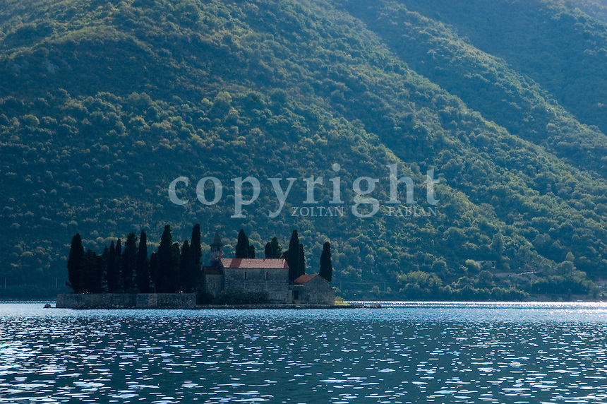 Little church on a small island at the Unesco protected Kotor bay, at Perast, Montenegro, Europe