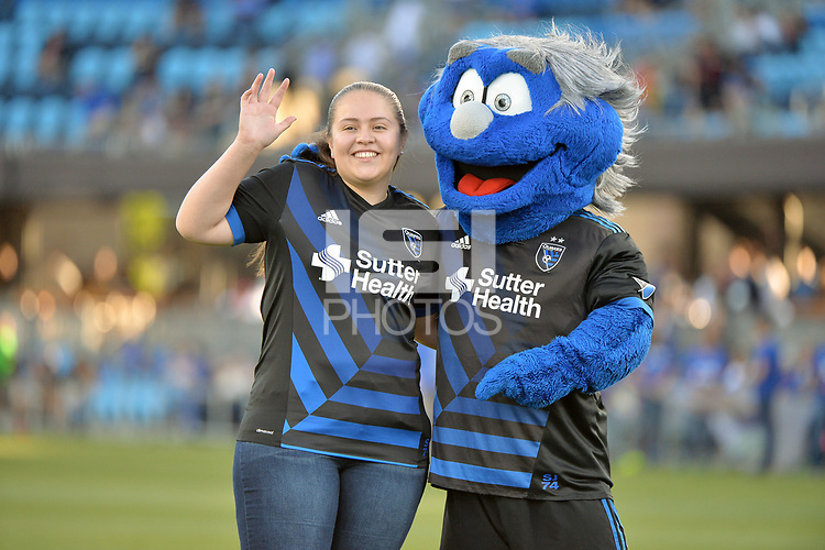 San Jose, CA - Wednesday June 13, 2018: San Jose Earthquakes mascot prior to a Major League Soccer (MLS) match between the San Jose Earthquakes and the New England Revolution at Avaya Stadium.