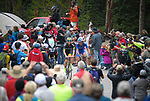 August 11, 2017 - Breckenridge, Colorado, U.S. -   Holowesko/Citadel's, T.J. Eisenhart (l), and United Health Care's, Daniel Eaton (r), make an early break near the top of the difficult Moonstone climb during the second stage of the inaugural Colorado Classic cycling race, Breckenridge, Colorado.