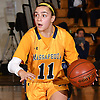 Morgan Camarda #11 of Massapequa dribbles downcourt during the Nassau County varsity girls basketball Class AA semifinals against Syosset at LIU Post on Saturday, Feb. 25, 2017. Massapequa won by a score of 48-44.